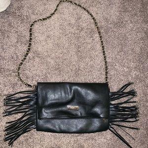 BCBG Paris Fringe Shoulder Handbag Black and Gold